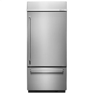 "KitchenaidBuilt-In Stainless Bottom Mount Refrigerator 20.9 Cu. Ft. 36"" Width - Stainless Steel"