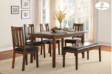 6-Piece Pack Dinette Set Table : 35.5 x 60 x 30H Chair : 18 x 22 x 38H Bench : 46 x 16.5 x 19H