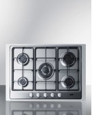 """5-burner Gas Cooktop Made In Italy In Stainless Steel Finish With Sealed Burners, Cast Iron Grates, Wok Stand, and Stainless Steel Frame To Allow Installation In 30"""" Wide Counter Openings Product Image"""