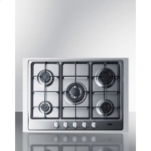 """5-burner Gas Cooktop Made In Italy In Stainless Steel Finish With Sealed Burners, Cast Iron Grates, Wok Stand, and Stainless Steel Frame To Allow Installation In 30"""" Wide Counter Openings"""