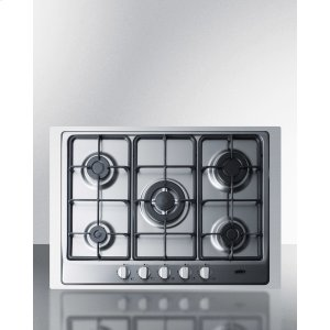 "Summit5-burner Gas Cooktop Made In Italy In Stainless Steel Finish With Sealed Burners, Cast Iron Grates, Wok Stand, and Stainless Steel Frame To Allow Installation In 30"" Wide Counter Openings"
