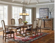 American Attitude Double Pedestal Table with 6 chairs