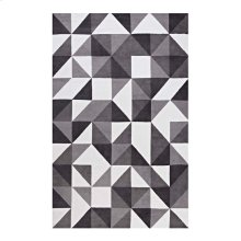 Kahula Geometric Triangle Mosaic 5x8 Area Rug in Black, Gray and White