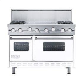 """White 48"""" Sealed Burner Range - VGIC (48"""" wide, four burners 24"""" wide griddle/simmer plate)"""