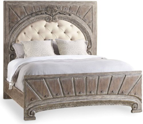 True Vintage California King Upholstered Panel Bed