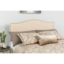 Lexington Upholstered King Size Headboard with Accent Nail Trim in Beige Fabric