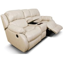 Leather Litton Double Rocking Reclining Loveseat Console 201090L