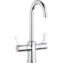 "Elkay Single Hole 12-1/2"" Deck Mount Faucet with Gooseneck Spout Twin Lever Handles Chrome"
