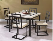 "Maze 42"" Cream Faux Mrbl 5-piece Dining Room Set"