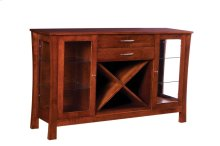 2 Drawer Sideboard with Wine Rack, Glass Sides & Doors