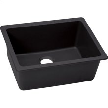 "Elkay Quartz Luxe 24-5/8"" x 18-1/2"" x 9-1/2"", Single Bowl Undermount Sink, Caviar"