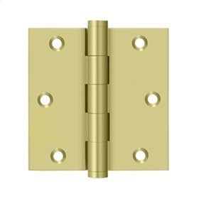 """3 1/2""""x 3 1/2"""" Square Hinge, Residential - Polished Brass"""