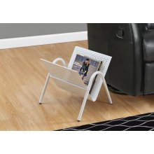 MAGAZINE RACK - WHITE METAL