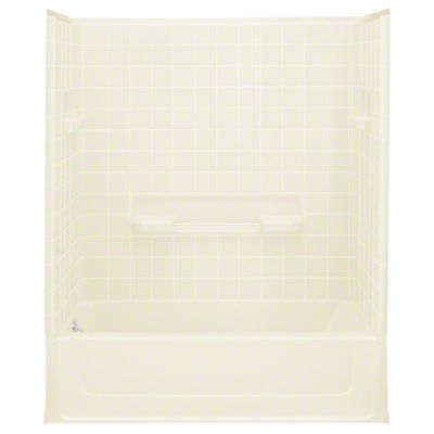 "All Pro®, Series 6104, 60"" x 30"" x 73-1/2"" Bath/Shower with Age in Place Backers - Left-hand Drain - KOHLER Biscuit"