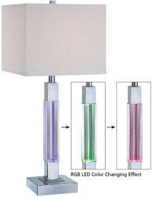 Table Lamp W. LED Accent, Chrome, E27 Cfl 23w & LED Bulb