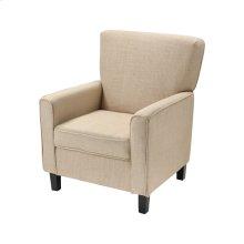 Melcher Tan Linen Chair With Black Legs