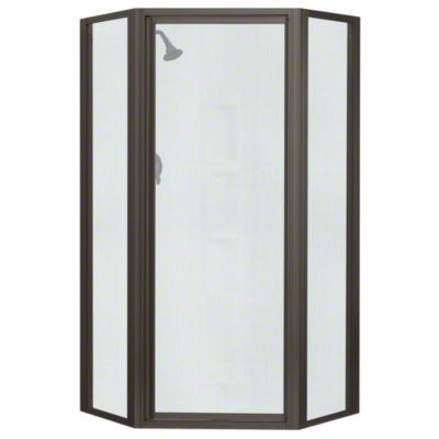Intrigue™ Neo-angle Shower Door - Deep Bronze with Rain Glass Texture