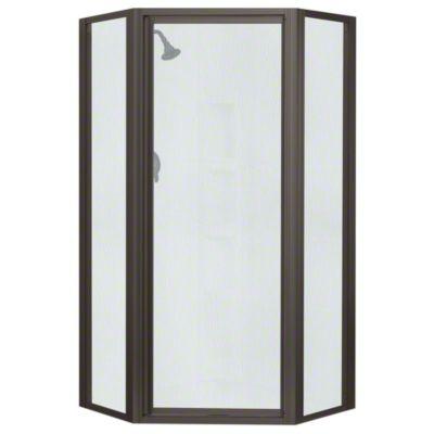 Intrigue™ Neo-angle Shower Door - Deep Bronze with Rain Glass Texture