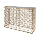 Gold Leaf Crosshatch Console Table With Inset Mirror Top. Product Image