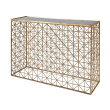 Gold Leaf Crosshatch Console Table With Inset Mirror Top.