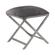 Stool 45x45x53 cm GRENA nickel cowskin grey