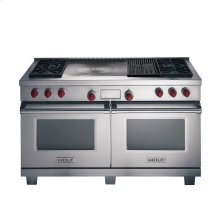 """60"""" Dual Fuel Range with 4 Burners and French top and Infrared Charbroiler"""