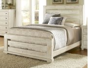 5/0 Queen Slat Headboard - Distressed White Finish Product Image