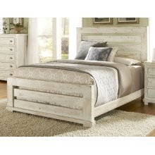 5/0 Queen Slat Headboard - Distressed White Finish