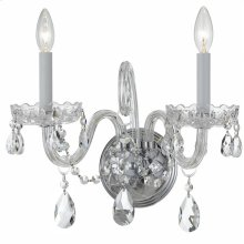 Traditional Crystal2 Light Clear Crystal Chrome Sconce I