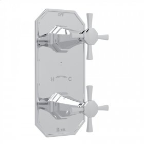 "Polished Chrome Perrin & Rowe Deco 1/2"" Thermostatic/Diverter Control Trim with Deco Cross Handle"