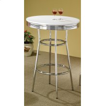 White Contemporary Round Bar Table