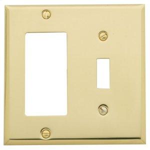 Polished Brass Beveled Edge GFCI / Single Toggle Combo Product Image
