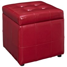 Volt Storage Faux Leather Ottoman in Red
