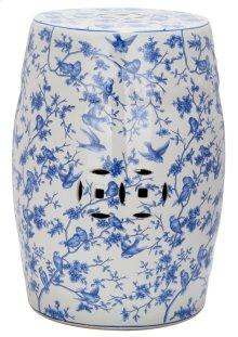 Blue Birds Garden Stool - Blue Pattern