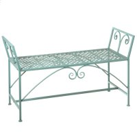 Green Backless Bench with Scroll Detail. Product Image
