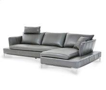 Lazzio Leather LAF Sofa in Graphite w/Headrest St.Steel