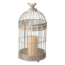 Large White and Gold Bird Cage Pillar Holder.