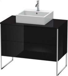 Vanity Unit For Console Floorstanding, Black High Gloss Lacquer