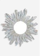 """35"""" Round Fringe Antique Teakwood Mirror in White Wash (35x3x35).. Product Image"""