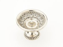 "Solid Brass, Symphony, Chalice, Round Knob, 1-9/16"" diameter, White Brass finish"