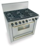 "36"" Six Burner All Gas Range, Sealed Burners, Stainless Steel with Brass Product Image"