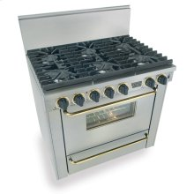 "36"" Six Burner All Gas Range, Sealed Burners, Stainless Steel with Brass"