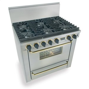 "Five Star36"" Six Burner All Gas Range, Sealed Burners, Stainless Steel with Brass"