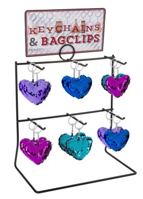 14 pc. assortment. Reversible Sequin Heart Key Chain & Counter Display