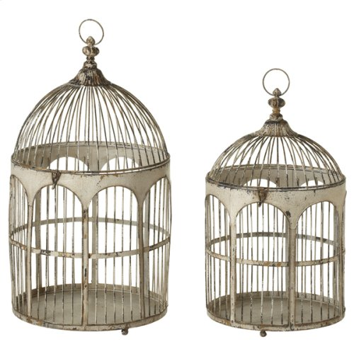 Distressed Ivory Round Top Arch Bird Cage (2 pc. set)