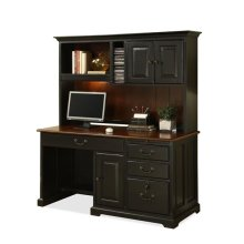 Bridgeport Storage Hutch Burnished Cherry/Antique Black