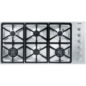 MieleGas cooktop with 2 dual wok burners for particularly versatile cooking convenience.