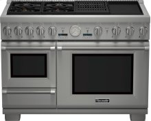 DEEPLY DISCOUNTED - SAVE!!! THERMADOR 48-Inch Pro Grand® Commercial Depth Dual Fuel Steam Range - * PRO GRILL, GRIDDLE, 4 STAR BURNERS - STEAM AND CONVECTION OVENS AND WARMING DRAWER - SHOWROOM DEMO MODEL - FULL WARRANTY - **Purchase this range and you will qualify for a full purchase price rebate on a Thermador Emerald dishwasher priced at $1,399. Bar Handle or Custom Panel model - https://www.thermador.com/us/products-list/dishwashers/stainless-steel/DWHD650WFM