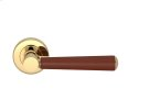 Tube Stitch Incombination Leather Door Lever In Chestnut And Polished Brass Product Image