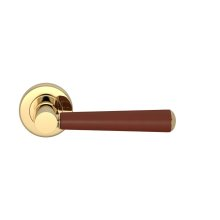 Tube Stitch Incombination Leather Door Lever In Chestnut And Polished Brass